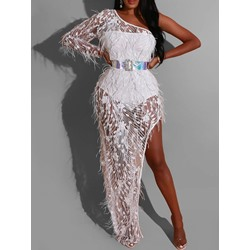 Sexy Feather Mesh Sequins Floor-Length One-Shoulder Asymmetric Women's Dress