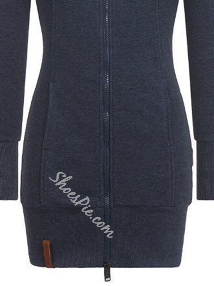 Regular Zipper Regular Mid-Length Women's Hoodie