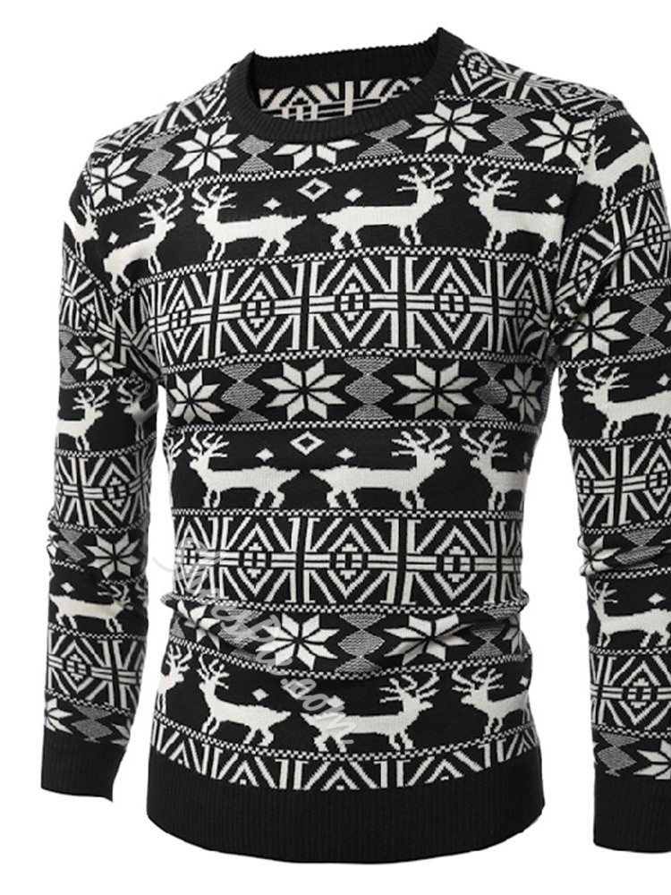 Color Block Mid-Length Round Neck Casual Slim Sweater