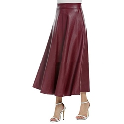 PU Plain A-Line Ankle-Length Elegant Women's Skirt