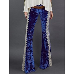 Embroidery Slim Bellbottoms Women's Casual Pants