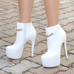 Shoespie Sexy White Side Zipper Plain Stiletto Heel Platform Ankle Boots