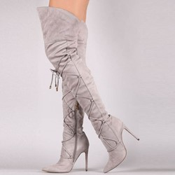 Shoespie Sexy Pointed Toe Side Zipper Lace-up Suede Knee High Boots