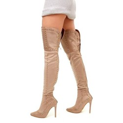 Shoespie Trendy Rivet Patchwork Stiletto Heel Back Zip Knee High Boots