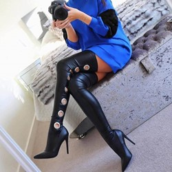 Shoespie Sexy Pointed Toe Stiletto Heel Knee High Boots