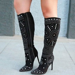 Shoespie Stylish Rhinestone Side Zipper Stiletto Heel Knee High Boots