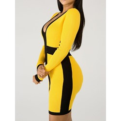 Long Sleeve Above Knee V Neck Regular Women's Dress