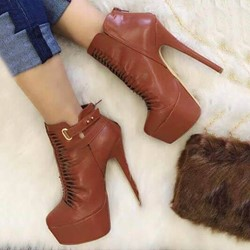 Shoespie Stylish Stiletto Heel Round Toe Thread Platform Ankle Boots