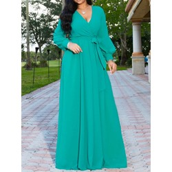 Long Sleeve Floor-Length V-Neck Lantern Sleeve Women's Dress