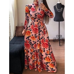 Long Sleeve V-Neck Floor-Length Sweet Women's Dress
