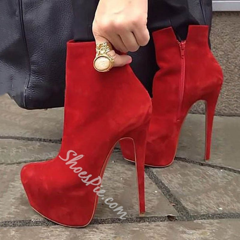 Shoespie Trendy Red Side Zipper Round Toe Sexy Platform Ankle Boots