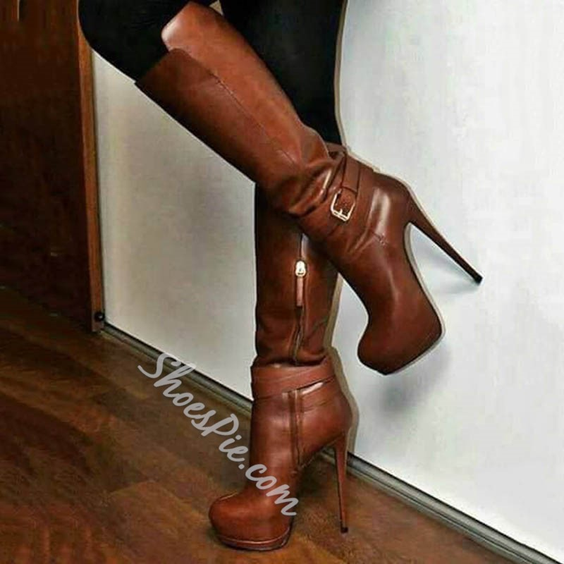 Shoespie Stylish Plain Round Toe Stiletto Heel Knee High Boots