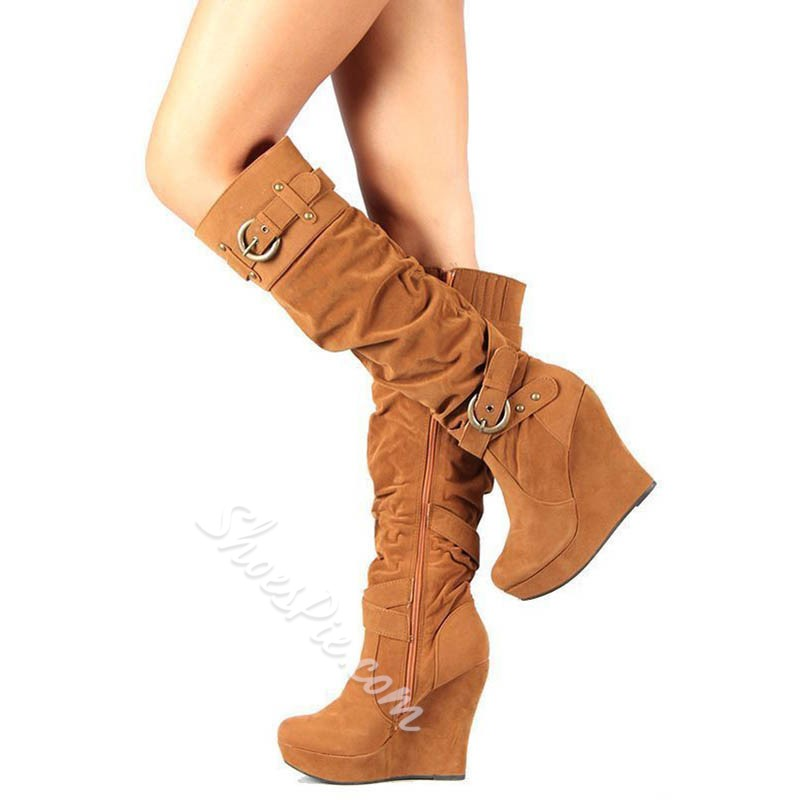 Shoespie Stylish Round Toe Plain Side buckle Wedge Knee High Boots