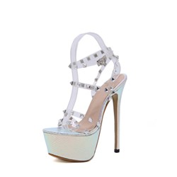 Shoespie Stylish Line-Style Buckle Open Toe Chunky Heel Rivet Sandals
