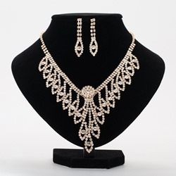 Diamante Romantic Necklace Party Jewelry Sets