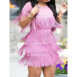 Above Knee Short Sleeve Round Neck Date Night/Going Out Women's Dress