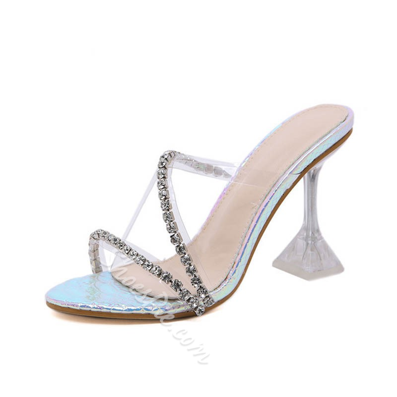 Shoespie Sexy Rhinestone Spool Heel Cross Summer Slippers