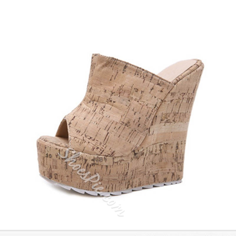 Shoespie Sexy Slip-On Wedge Heel Casual Slippers