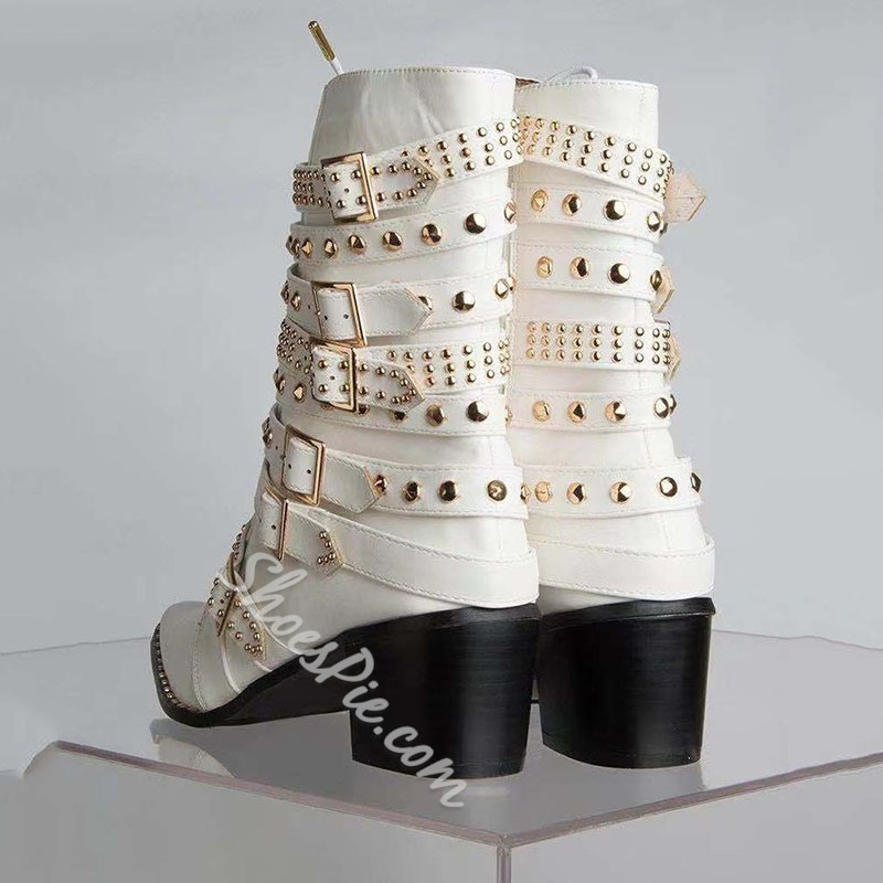 Shoespie Sexy Rivet Chunky Heel Plain Square Toe Punk Boots