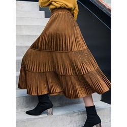 Mid-Calf A-Line Plain Pleated Casual Women's Skirt