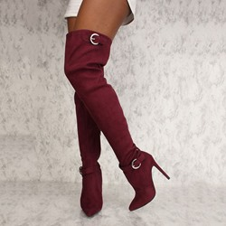 Shoespie Stylish Pointed Toe Stiletto Heel Side Zipper Buckle Knee High Boots