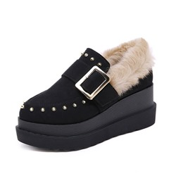 Shoespie Sexy Buckle Wedge Heel Pointed Toe Casual Thin Shoes