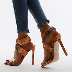 Shoespie Sexy Velcro Open Toe Stiletto Heel Print Sandals