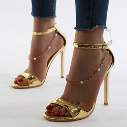 Shoespie Stylish Heel Covering Stiletto Heel Open Toe Buckle Sandals
