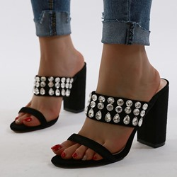 Shoespie Trendy Slip-On Rhinestone Chunky Heel Summer Slippers