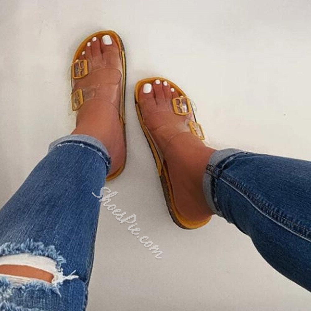 Shoespie Sexy Slip-On See-Through Flat With PVC Slippers