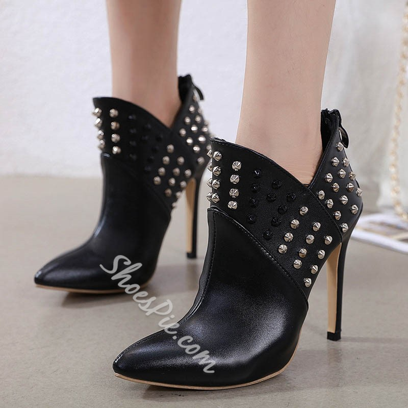 Shoespie Sexy Back Zip Plain Pointed Toe Thread Boots