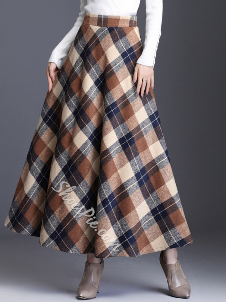 Mid-Calf Expansion Plaid Casual Women's Skirt