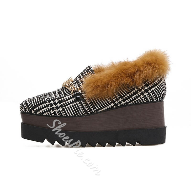 Shoespie Stylish Wedge Heel Thread Square Toe Casual Thin Shoes