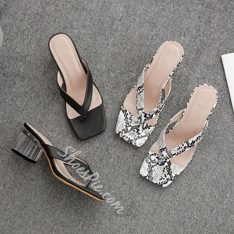 Shoespie Sexy Chunky Heel Slip-On Thong Summer Slippers