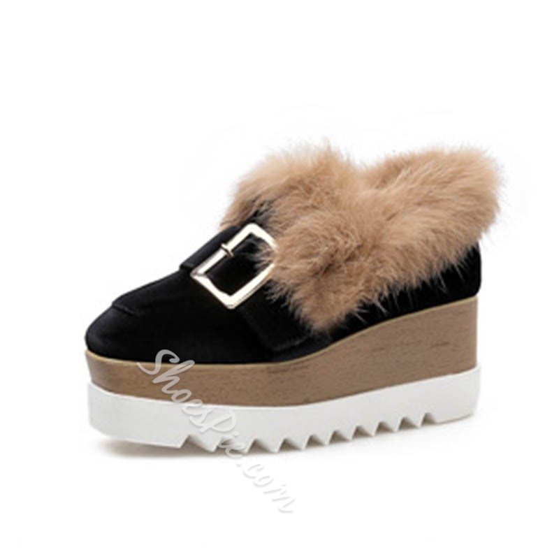 Shoespie Sexy Platform Slip-On Wedge Heel Color Block Thin Shoes