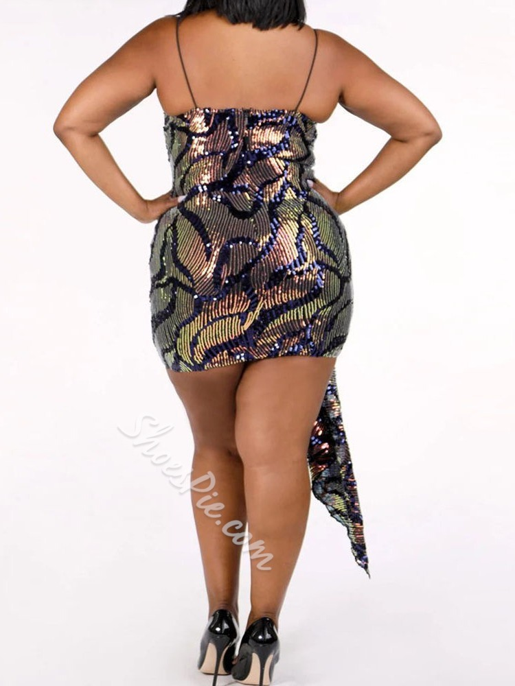 Sexy Plus Size Above Knee Sleeveless Sequins Women's Dress