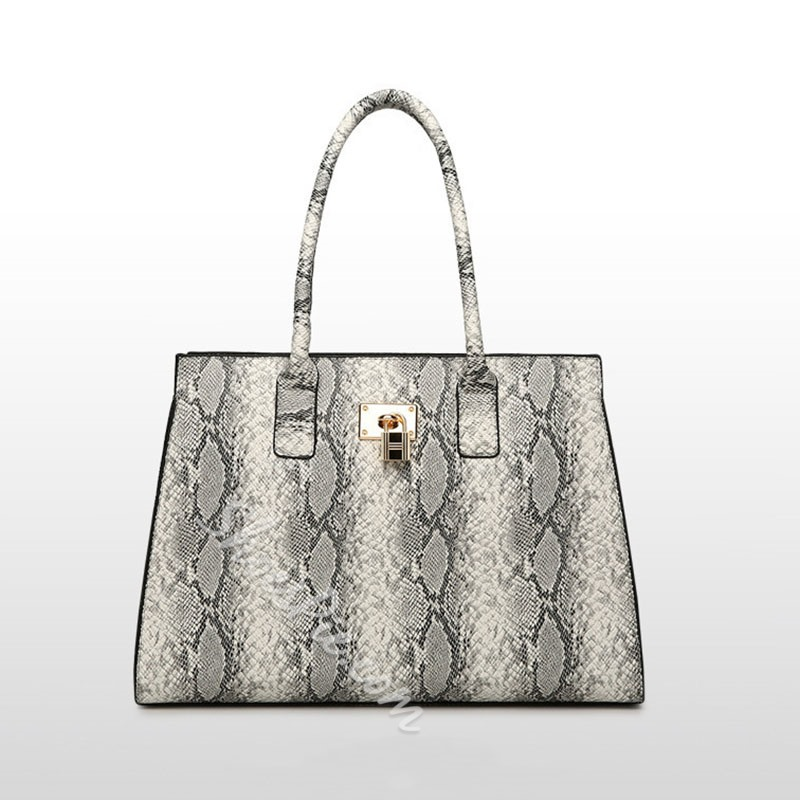 Shoespie Print Serpentine Rectangle Tote Bags