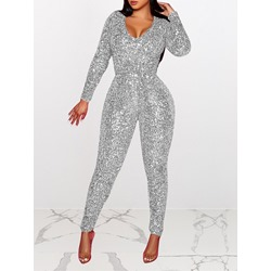 Plain Full Length Sequins Skinny Women's Jumpsuit