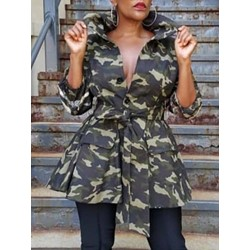 Mid-Length Camouflage Lace-Up Regular Women's Trench Coat