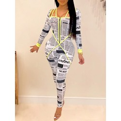 Letter Casual Full Length Skinny Women's Jumpsuit