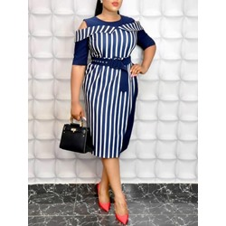 Patchwork Knee-Length Round Neck Stripe Women's Dress