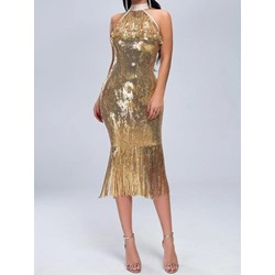 Sleeveless Mid-Calf Sequins Pullover Women's Dress