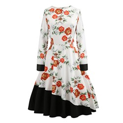 Mid-Calf Round Neck Long Sleeve Floral Women's Dress