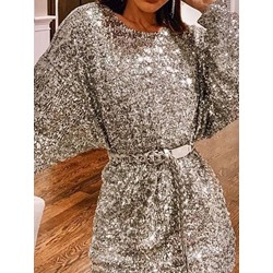 Sequins Long Sleeve Round Neck Mid Waist Women's Dress