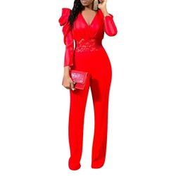 Full Length Casual Patchwork Slim Women's Jumpsuit