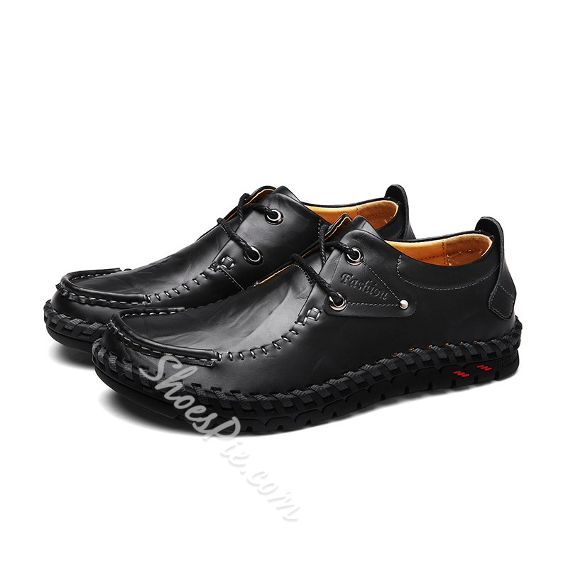 Shoespie Men's Plain Low-Cut Upper Lace-Up Round Toe Loafers