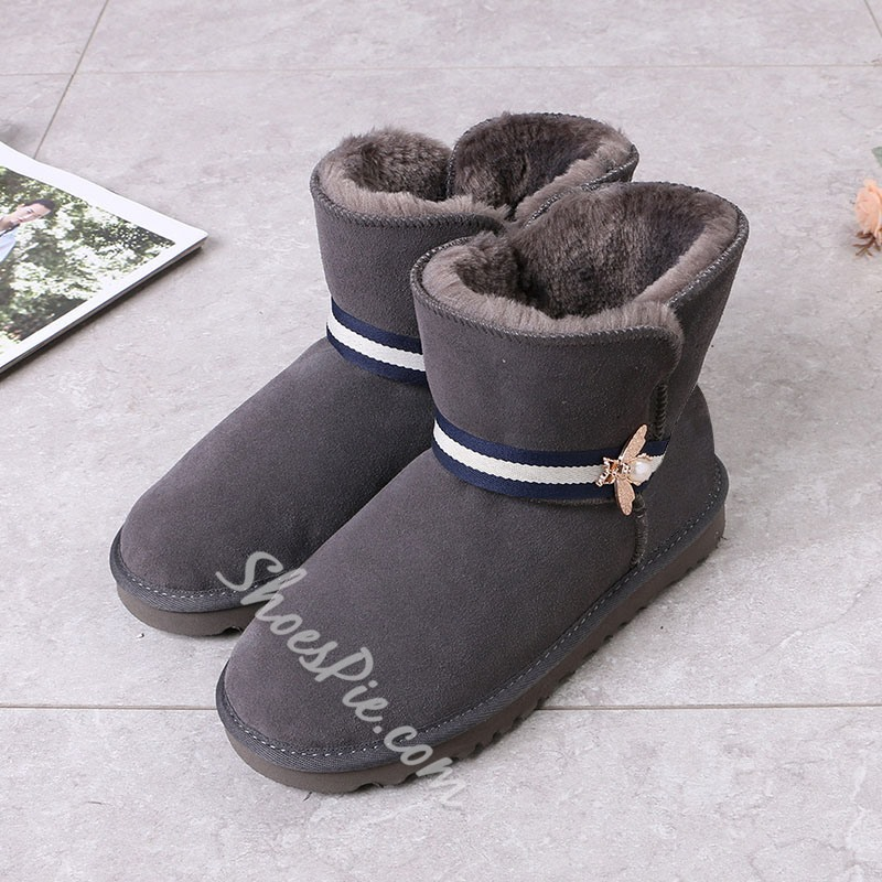 Shoespie Sexy Slip-On Color Block Round Toe Snow Boots