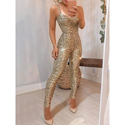 Plain Sexy Full Length Sequins Party Women's Jumpsuit