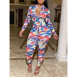 Casual Camouflage Print Slim Women's Jumpsuit