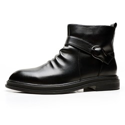Shoespie Men's Plain Round Toe Side Zipper Boots
